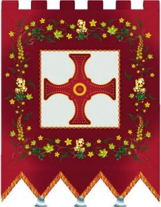 A modern representation by Ruth O'Leary of the Sacred Banner of St Cuthbert. The original was destroyed in the Reformation: Battle of Flodden 9th September 1513