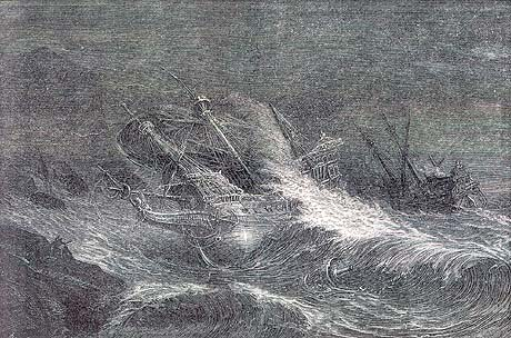 Santa Maria de la Rosa foundering in Blasket Cove off the South West coast of Ireland. Only one member of the crew survived a sixteen year old Italian boy name Giovanni. Giovanni was interrogated by English officials and then hanged: Spanish Armada June to September 1588: click here to buy this picture