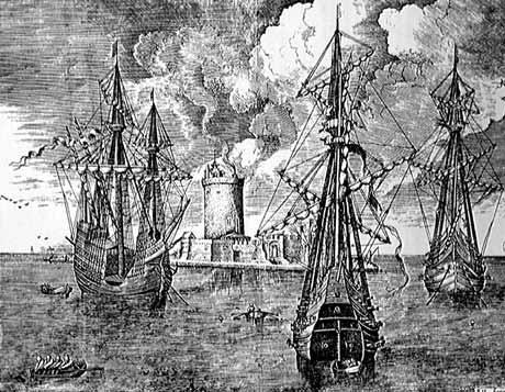 Ships of the Armada at anchor: Spanish Armada June to September 1588