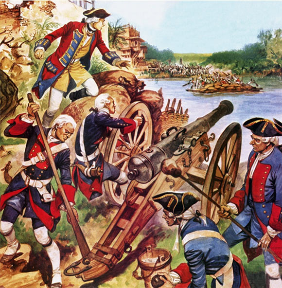 Robert Clive fires a cannon in the Siege of Arcot 31st August to 15th November 1751 in the War in India: picture by Cecil Doughty