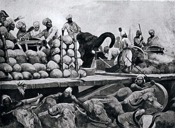Siraj-ud-Daulah's guns on wooden trucks pulled by oxen and pushed by elephants at the Battle of Plassey 23rd June 1757 in the Anglo-French Wars in India: picture by Richard Caton Woodville: click here to buy this picture