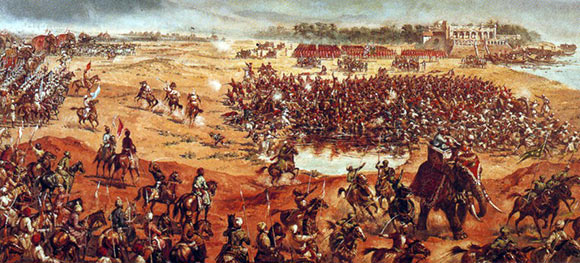 Battle of Plassey on 23rd June 1757 in the Anglo-French Wars in India