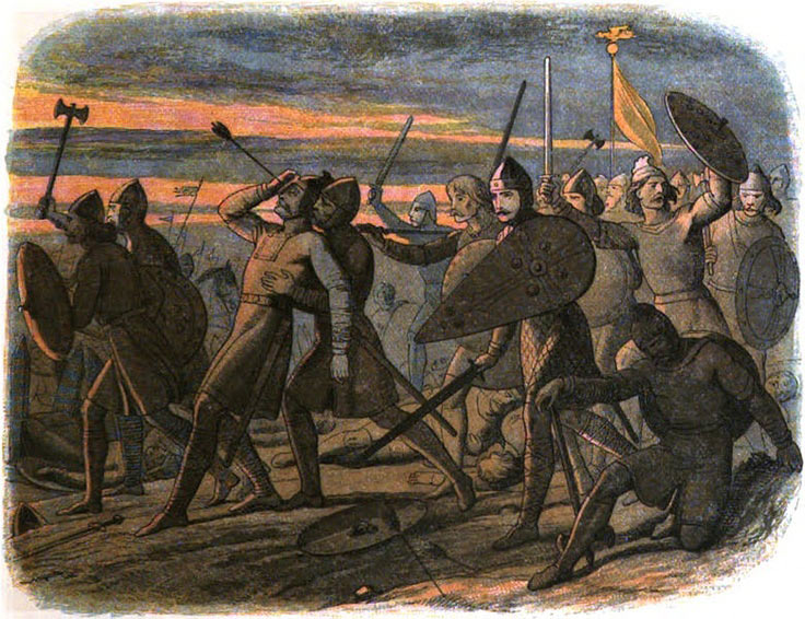 Death of King Harold at the Battle of Hastings on 14th October 1066 in the Norman Invasion: picture by James William Edmund Doyle: click here to buy this picture