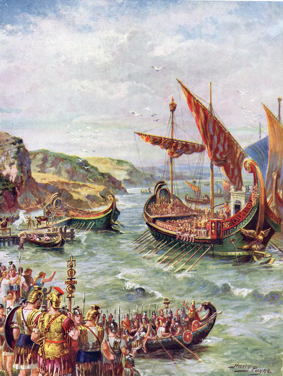 The Roman fleet landing on the coast of Britain for the Emperor Claudius' invasion of Britain. Picture by Harry Payne: click here to buy this picture