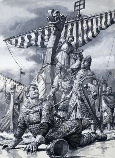 Duke William stumbles on landing in England: Battle of Hastings on 14th October 1066: picture by Cecil Doughty: click here to buy this picture