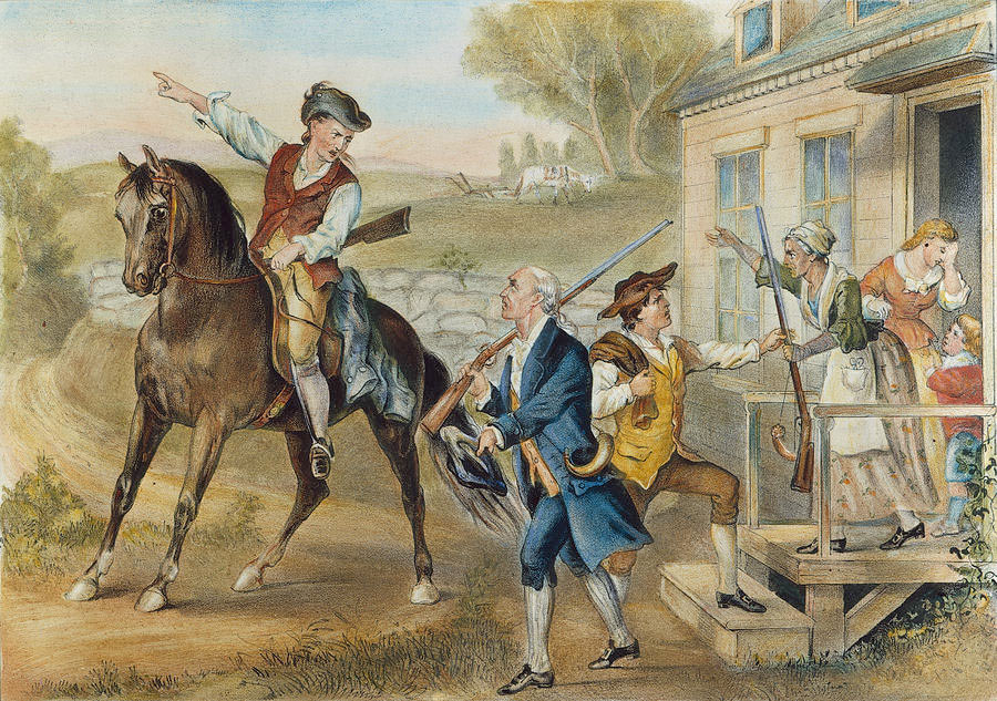 Massachusetts militia, 'the Minutemen' turning out to oppose the British march to Concord on 19th April 1775 at the beginning of the American Revolutionary War