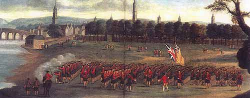 42nd Black Watch on Glasgow Green: Battle of Ticonderoga on 8th July 1758 in the French and Indian War