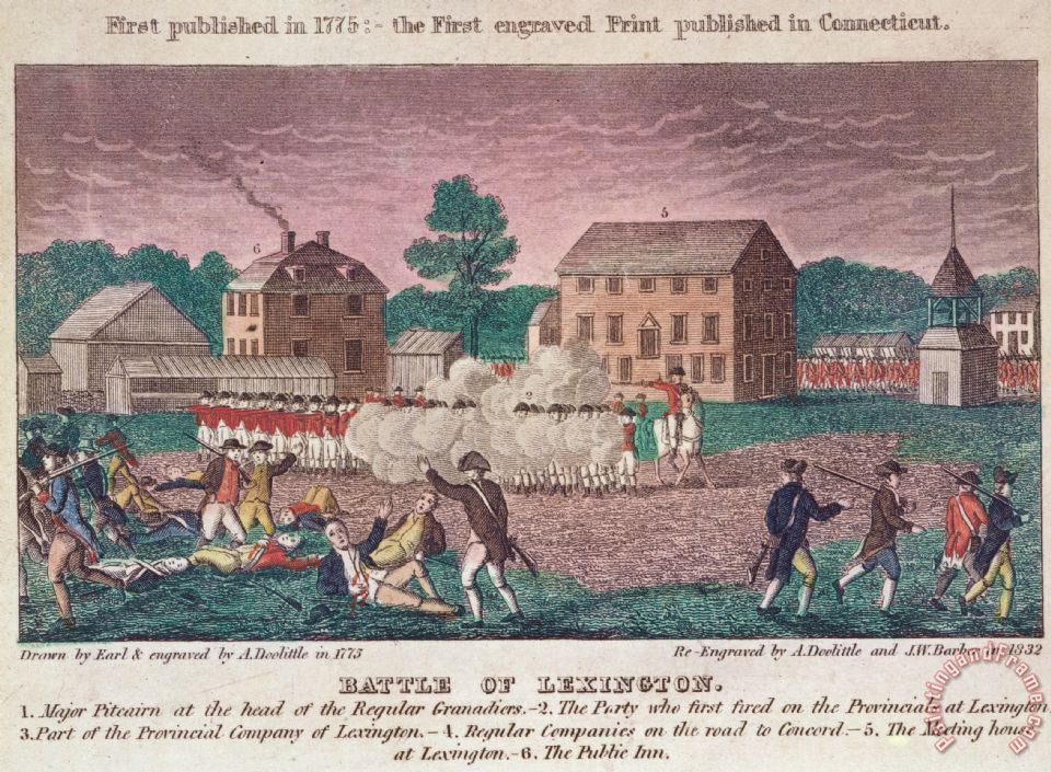 First Shots fired at Lexington on 19th April 1775 in the American Revolutionary War: click here to buy this picture