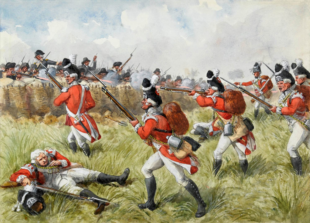 Battle of Bunker Hill on 17th June 1775 in the American Revolutionary War: picture by Richard Simkin