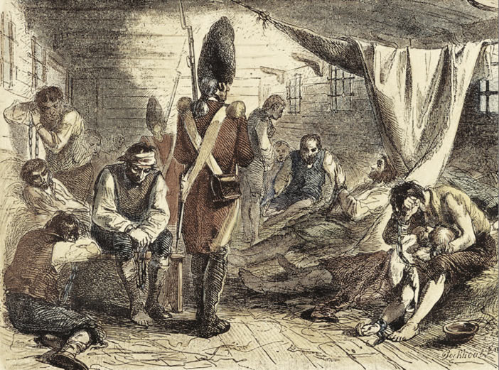 American prisoners held on board ship by the British during the American Revolutionary War