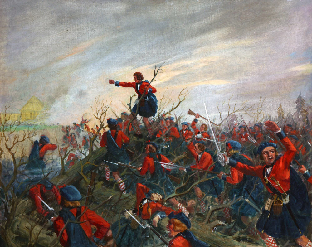 The Black Watch, the 42nd Highlanders at the Battle of Ticonderoga on 8th July 1758 in the French and Indian War