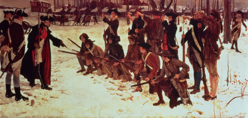 Major General Steuben training the American Regiments of Foot at Valley Forge during the winter of 1777/1778: picture by E.A. Abbey: click here to buy this picture