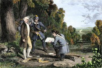 Capture of Major Andre and the revelation of Benedict Arnold's treachery: click here to buy this picture