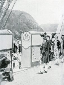 Benedict Arnold going aboard the British sloop Vulture after deserting his post at West Point in 1780