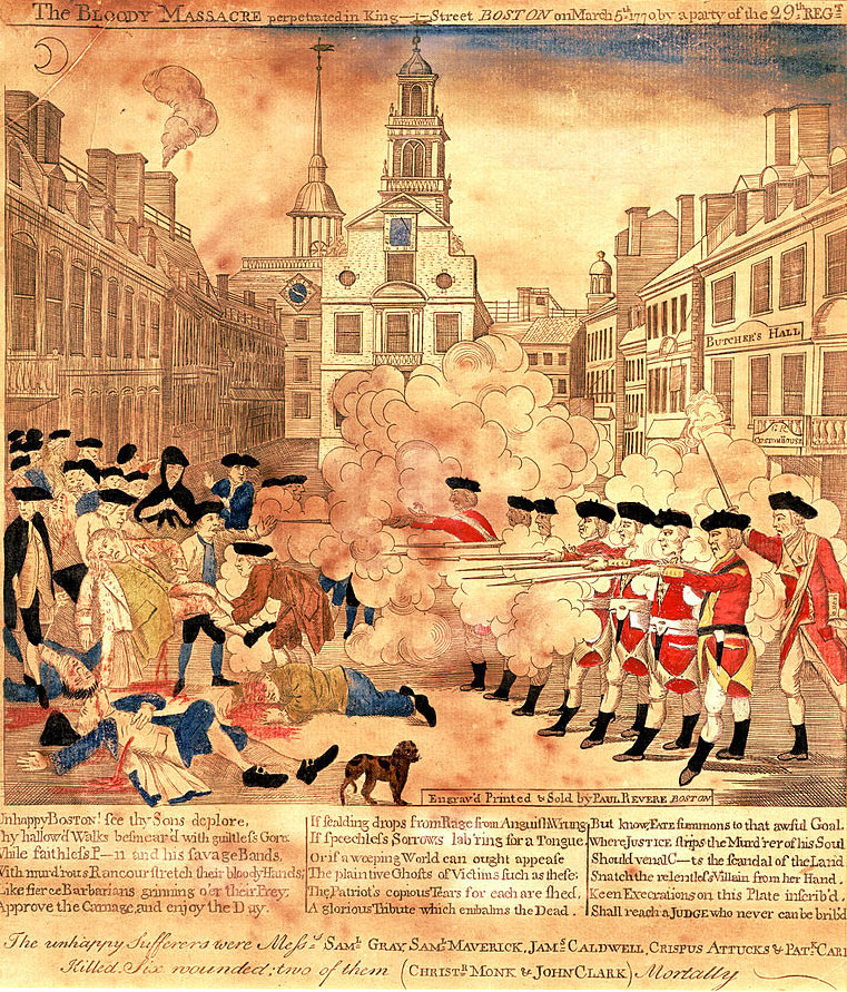 'Boston Massacre': British troops confront and fire on a crowd in Boston on 5th March 1770: American Revolutionary War