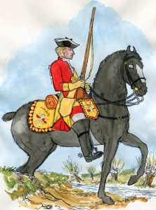 6th Dragoons: Battle of Rocoux 30th September 1746 in the War of the Austrian Succession: picture by Mackenzies from Representation of Cloathing