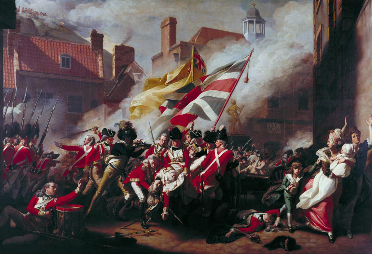 British Grenadier Attack: death of Major Pearson by John Singleton Copley: click here to buy this picture