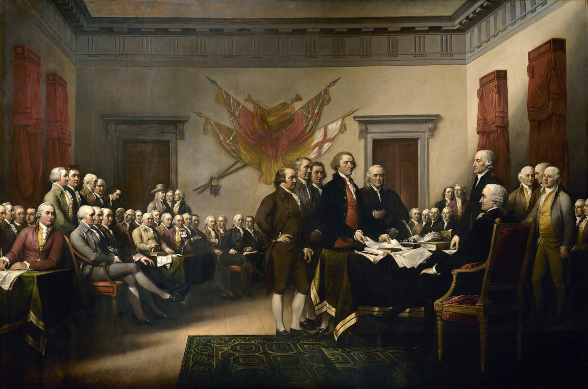 The signing of the Declaration of Independence 4th July 1776 : Picture by John Trumbull: click here to buy this picture
