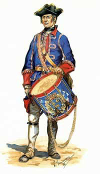 Drummer of the French Royal Roussillon Regiment: Battle of Ticonderoga on 8th July 1758 in the French and Indian War