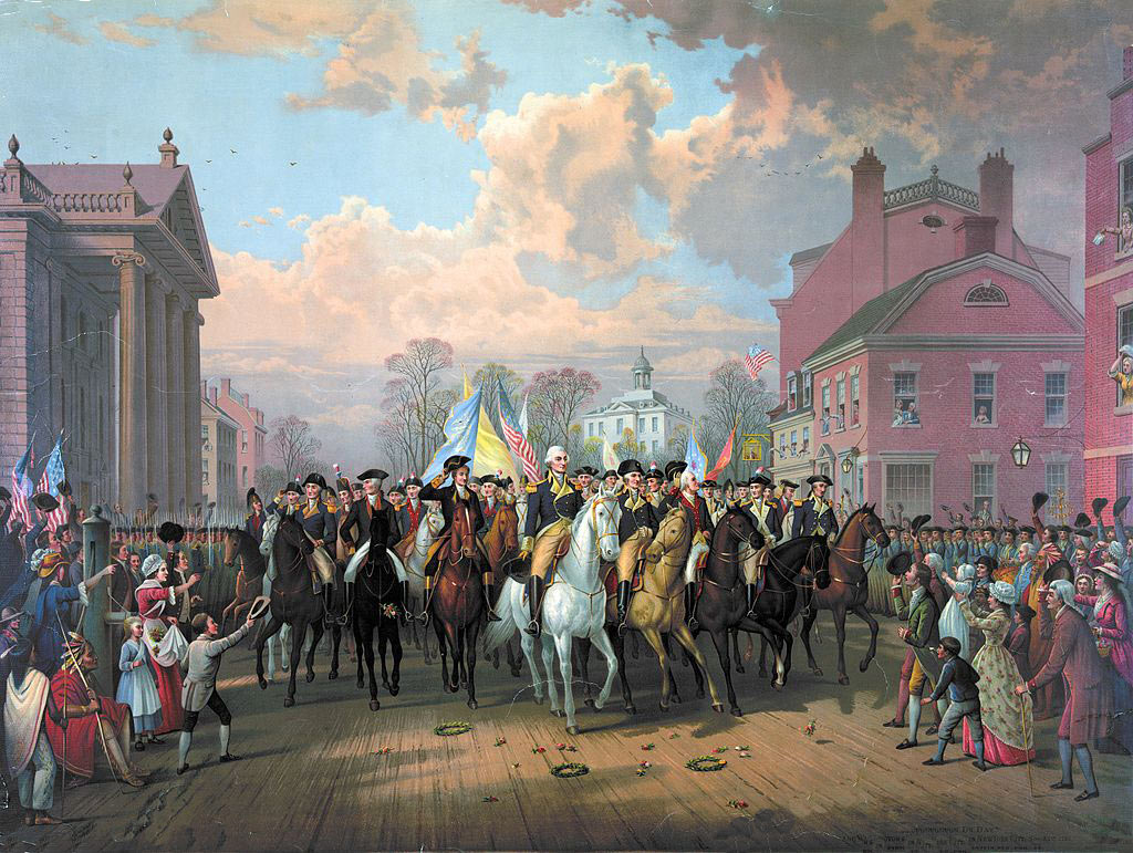 George Washington enters New York on 'Evacuation Day', 25th November 1783, after the departure of the British: American Revolutionary War: picture by Edmund Restein