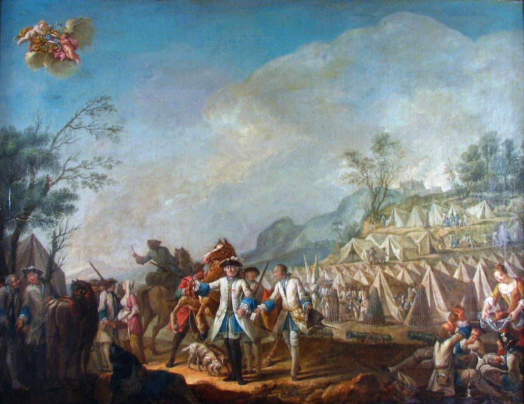 French camp at Fort Ticonderoga: Battle of Ticonderoga on 8th July 1758 in the French and Indian War