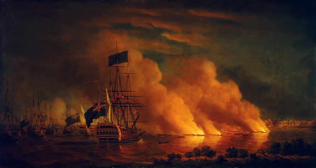 French fire ships off Quebec: Battle of Quebec September 1759 in the French and Indian War or the Seven Years War