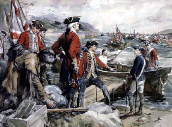 General Abercromby's force embarking for the attack on Fort Ticonderoga 8th July 1758 in the French and Indian War