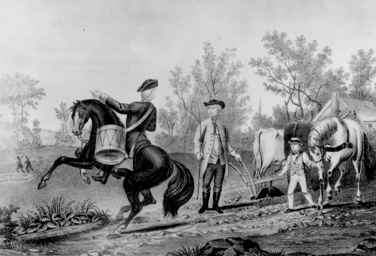General Israel Putnam called from his plough to the service of his country: an image reminiscent of the incident in classical history; Cincinnatus summoned from his ploughing to be Dictator of Rome, against the threat from the Aequians.