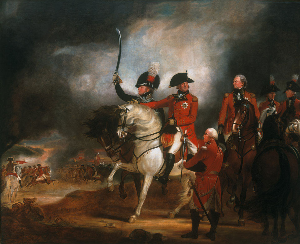 King George III and the Prince of Wales reviewing troops: picture by Sir William Beechey: click here to buy this picture