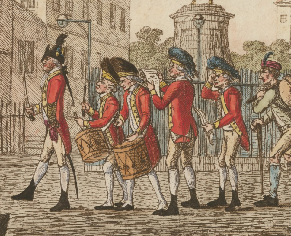 British Army Recruits in 1775; a satirical view