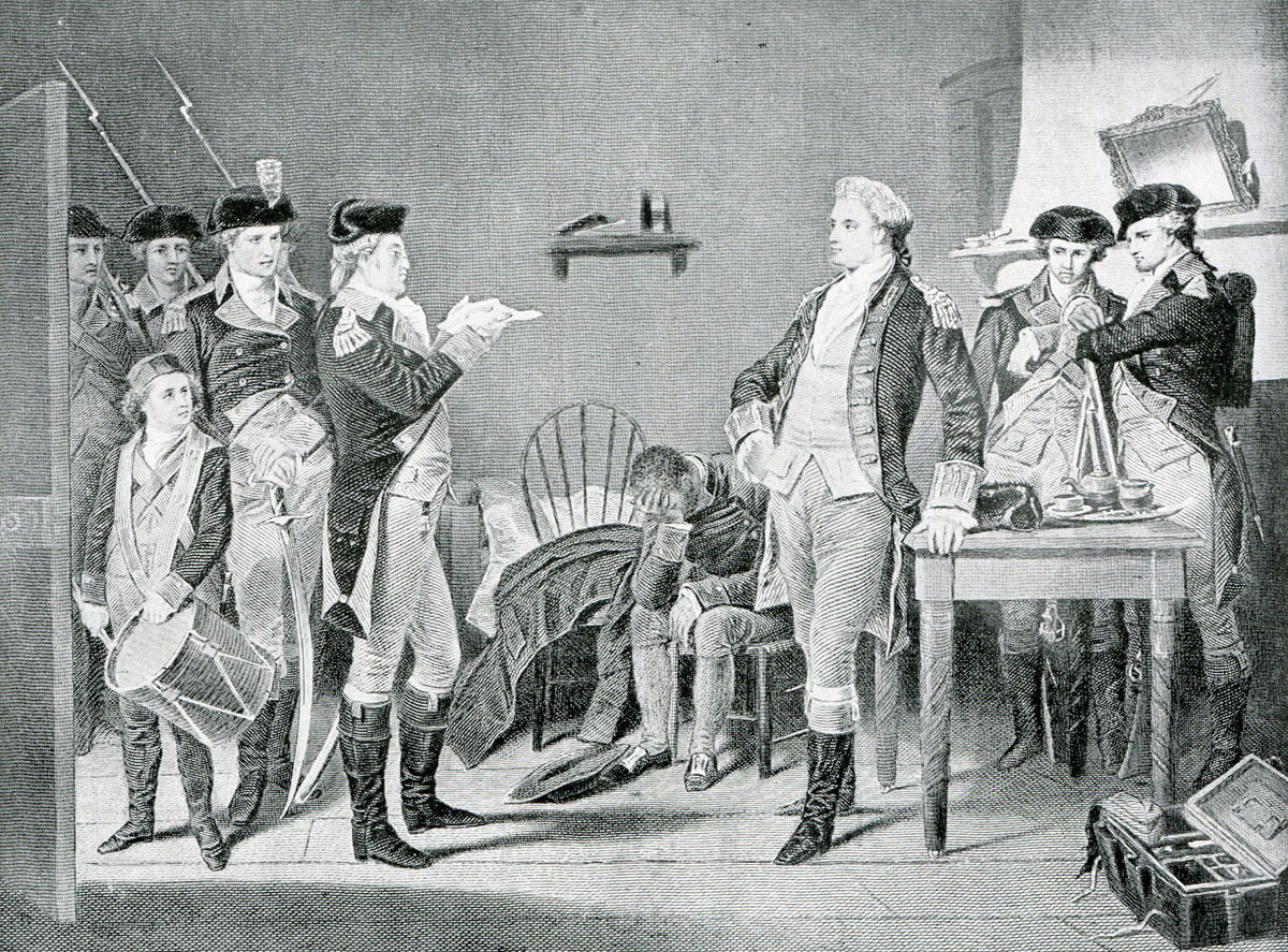 Sentence of death is read to Major André for negotiating the treachery of Benedict Arnold
