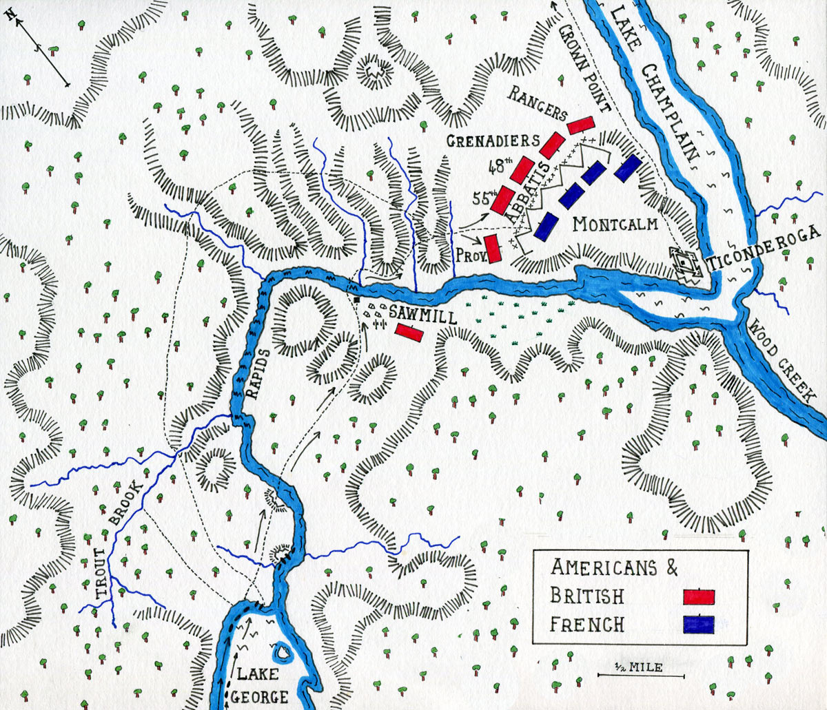 Map of the Battle of Ticonderoga on 8th July 1758 in the French and Indian War: map by John Fawkes