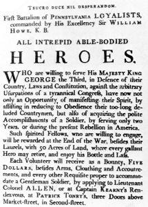 British recruiting poster: American Revolutionary War