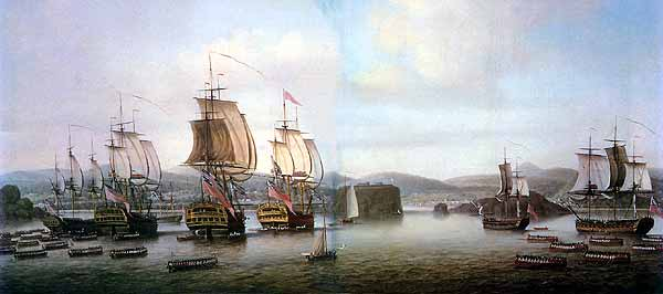 British Fleet at the Siege of Louisburg July 1758 in the French and Indian War
