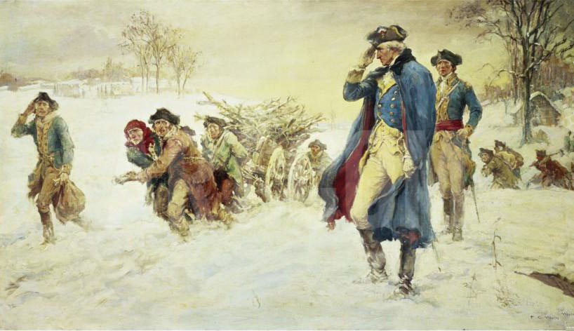 George Washington at Valley Forge Winter 1777/8: picture by Frederick Coffay Yohn: click here to buy this picture