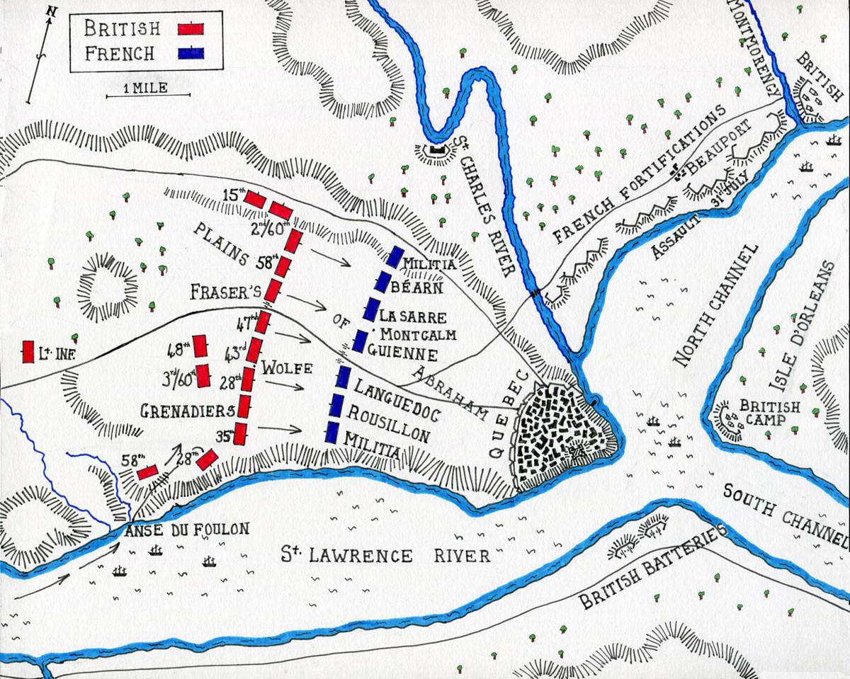battle of quebec 1759 map of the battle of quebec 13th 1759 in the french and n war or