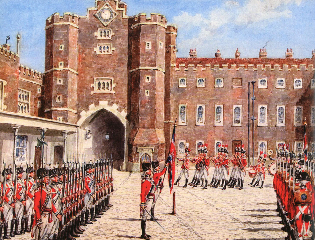 British First Foot Guards mounting guard at St James's Palace 1778