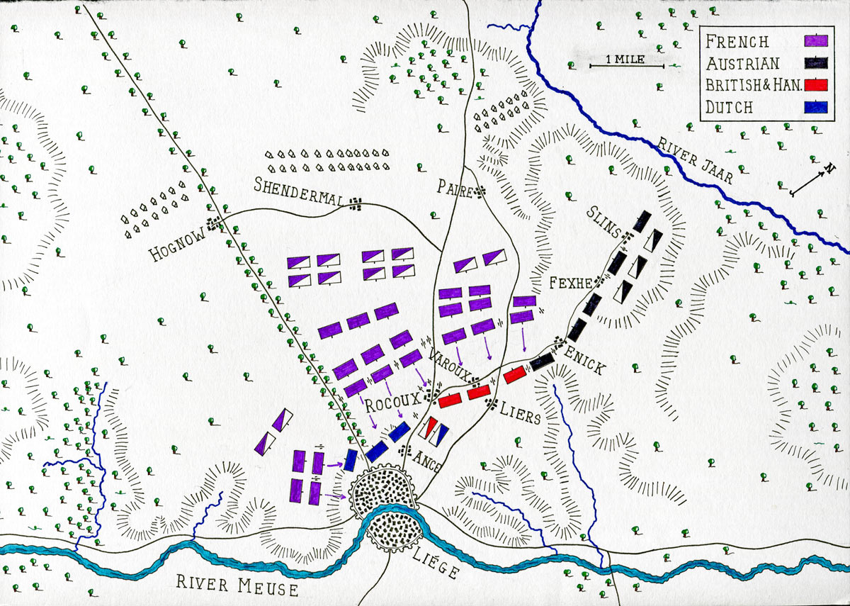 Map of the Battle of Rocoux 30th September 1746 in the War of the Austrian Succession: map by John Fawkes