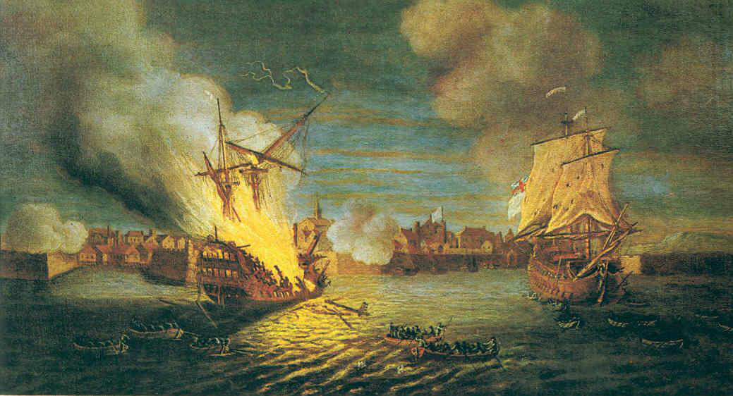 British fire ships at the Siege of Louisburg July 1758 in the French and Indian War: picture by Dominic Serres