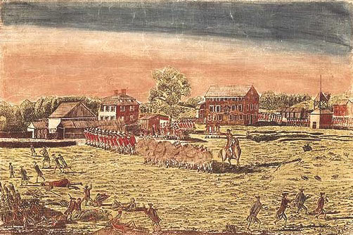 Battle on Lexington Green: Battle of Concord and Lexington 19th April 1775 American Revolutionary War: picture by Amos Doolittle