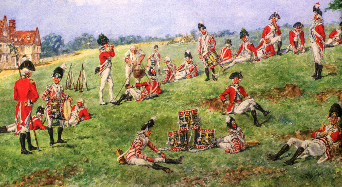 British Foot Guards resting during the advance to outflank General Washington's American Army at the Battle of Brandywine Creek on 11th September 1777 in the American Revolutionary War