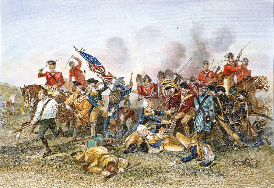 Fatal wounding of the American officer Baron Johan von Kalb at the Battle of Camden on 16th August 1780 in the American Revolutionary War: click here to buy this picture