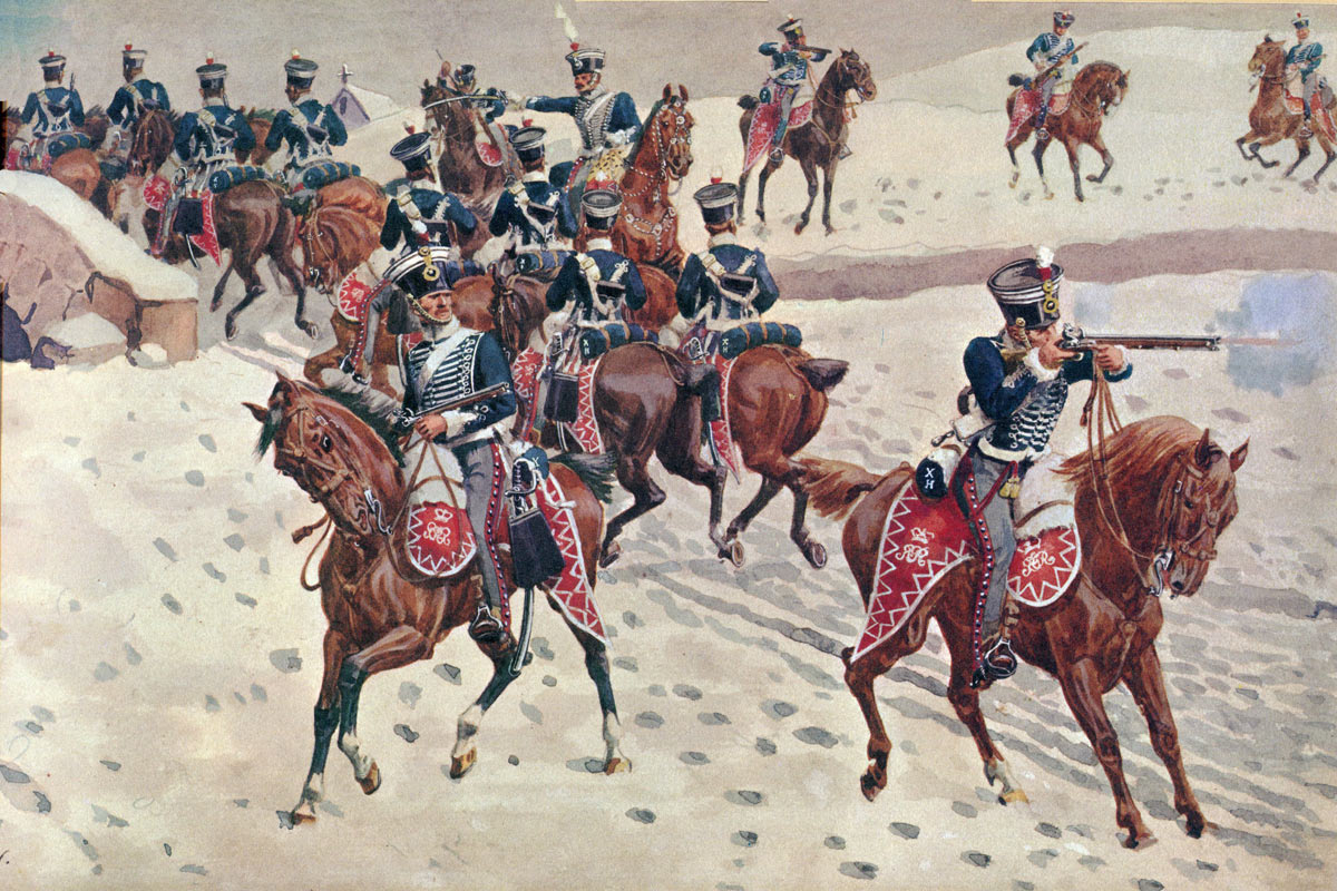 10th Prince of Wales's Light Dragoons at Benavente: Battle of Corunna on 16th January 1809 in the Peninsular War: piccture by Richard Simkin
