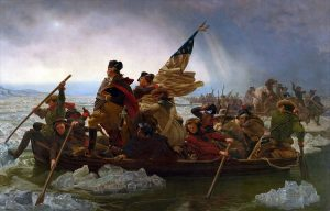 George Washington crossing the Delaware River at the Battle of Trenton on 25th December 1776 in the American Revolutionary War: picture by Emanuel Leutze: click here to buy this picture
