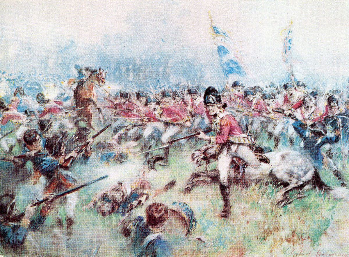 The Charge of the British 17th Foot at the Battle of Princeton on 3rd January 1777 in the American Revolutionary War