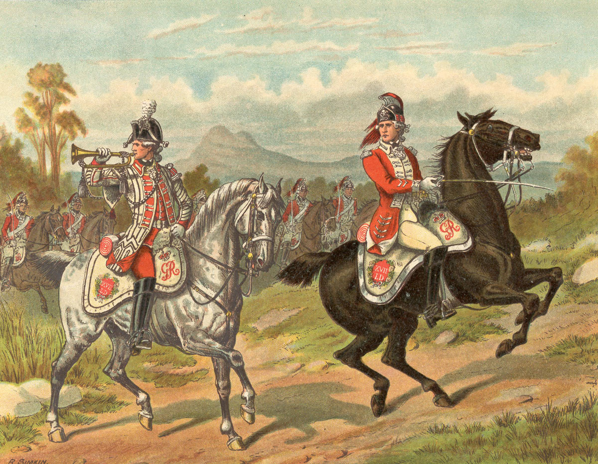 British 17th Light Dragoons: Battle of Cowpens on 17th January 1781 in the American Revolutionary War : picture by Richard Simkin