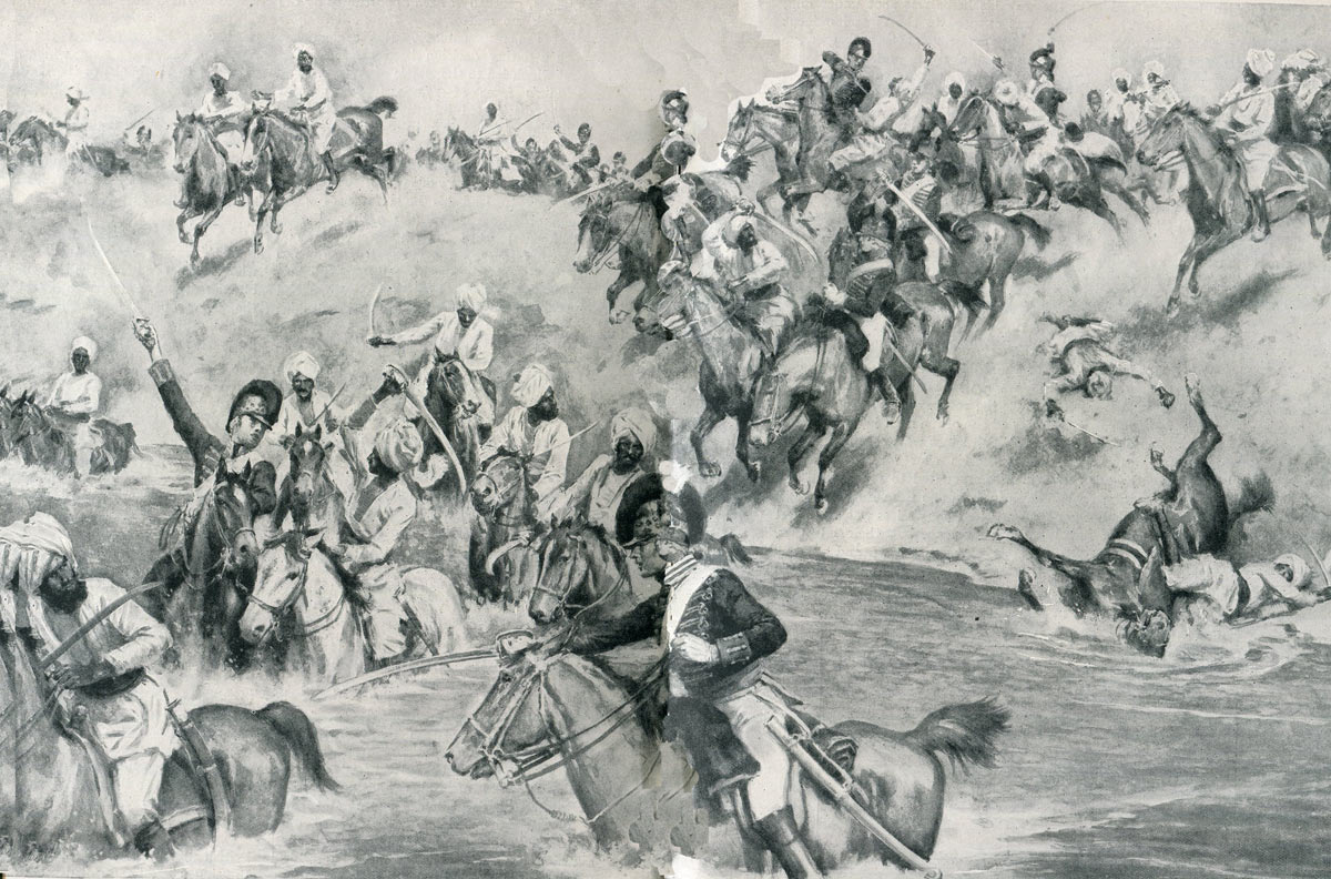 19th Light Dragoons attack the Mahratta Cavalry at the Battle of Assaye on 23rd September 1803 during the Second Mahratta War in India: picture by Wal Paget