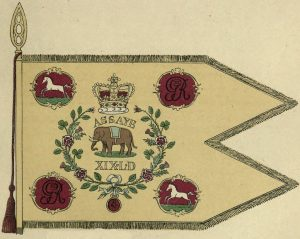 Assaye 'Elephant' Guidon of the 19th Light Dragoons: Battle of Assaye on 23rd September 1803 in the Second Mahratta War in India