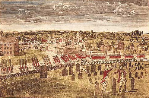 Attack on Concord: Battle of Concord and Lexington 19th April 1775 American Revolutionary War: picture by Amos Doolittle