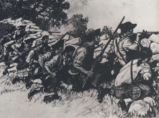 American troops at the Battle of Hubbardton 7th July 1777 in the American Revolutionary War
